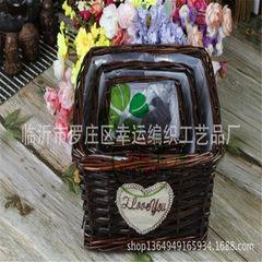 柳条编 咖啡色  花篮  园林花盆容器 手工编织礼品篮 包装篮 黑色 30*20