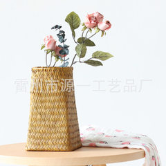 Hand-made seagrass knits and furnishings display desktop vintage garden flower basket decorative flo Primary colors