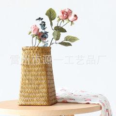 手工海草编织摆设居家陈列桌面复古园艺插花花篮 装饰花盆花瓶 原色
