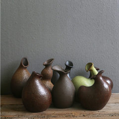 琦轩源 粗陶禅意花插 日式窑变花瓶花器 复古手工陶瓷 工艺摆件 款式1