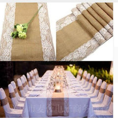 Factory direct sale manufacturer wholesale linen lace table flag chair yarn Christmas party craft we Jute * white lace