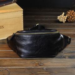 Fanny pack men`s single shoulder bag Korean version of the breast bag oblique strapless leisure bag  black