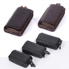 Genuine leather double button business mobile phone purse 5.5 inches double purse summer fashion bag 5.5 inch black 001