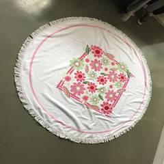 圆形沙滩巾150cm 超细纤维割绒活性印毛巾数码印沙滩巾 白 25*50