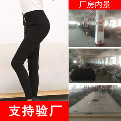 Yiwu woven pants factory small batch processing customized black All code