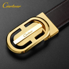 New product on the market cow leather belt fashion belt mixed batch business wear-resistant leisure  Black with white button