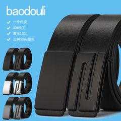Baodouli men`s leather belt PU cowhide belt smooth button business youth belt men`s Korean version o AQ58 - black plane