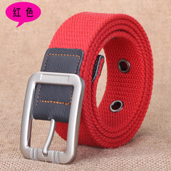 Needle buckle leisure canvas belt men and women general fashionable cloth belt leather bag edge belt red 100 cm
