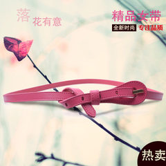 Cowhide tie knot small waist belt female adornment matchs dress son fashionable Korea version 100 ta red