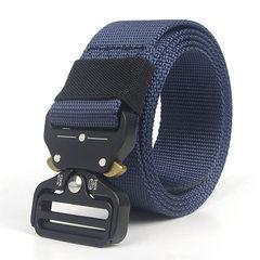 Manufacturer wholesale tactics outdoor belt men custom-made LOGO eyes snake buckle imitation nylon q blue 125 cm