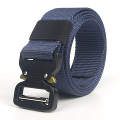 Manufacturer direct for tactical outdoor leather belt men`s eyes snake high-quality goods thickened  blue 125 cm