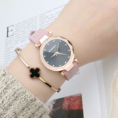 Korean style fashion ladies watch star quartz watch girls watch guangzhou leather belt watch 4413 red