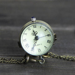 Popular concave convex mirror pocket watch fish-eye glass ball watch ox eye Roman vintage watch tan