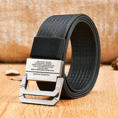 Canvas belt double ring buckle belt Korean version of men`s canvas belt youth student belt wholesale khaki