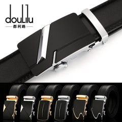 Hot style genuine two-layer leather belt automatic buckle men`s leather belt leisure business belt m R649 [black]