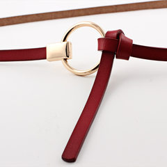 Korean version tie knot female style leather small waist belt female decorative dress dress 100 take red Mixed code 105-115