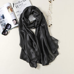 New Dutch linen pearl scarf summer sun protection cape beach towel pure color female silk scarves wh black 190 cm