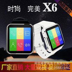 爆款D版框贴X6智能手表 插卡打电话 工厂直销弧屏幕手表手机 白色