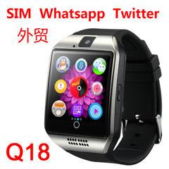 工厂批发 Q18智能手表手机电话卡拍照上网蓝牙弧屏触摸时尚 外贸 黑金色英文版