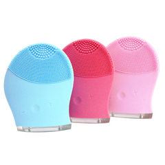 Ultrasonic electric facial cleanser charging waterproof silicone face brush facial pores cleaner hou Pink Chinese