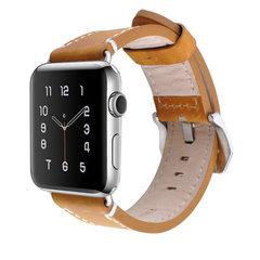 适用于苹果手表带iwatch2真皮表带疯马纹牛皮新款Apple Watch表带 42mm棕色