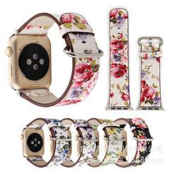 智能穿戴表带跨境热销iwatch真皮表带苹watch皮表带印花田园果 38mm白黄