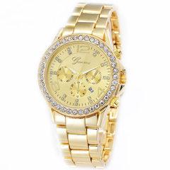 Geneva Geneva men`s watch business diamond watch fake three-eye steel band quartz watch golden
