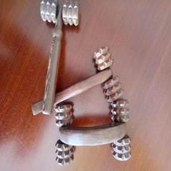 鸡翅木滚轮按摩器 实木推背器颈部背部腰部腿部全身滚动按摩 原色4轮 滚动