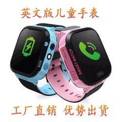 俄语英文Q528儿童智能手表多国语言定位拍照手电筒电话手机穿戴 蓝色英文版