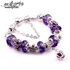 Purple crystal panjia bracelet crown vintage bracelet European and American accessories DIY string b The length of 18 cm PSL - 0059-5 deep blue