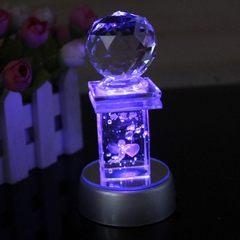 创意带球闪灯水晶摆件 情人节新年礼物 同学朋友生日礼品批发 5*10cm