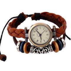 饰品直销真皮手链表 复古牛皮手链表 男女学生手表 精致礼品 棕色