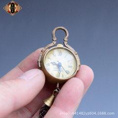 直销批发 黄铜西洋钟水晶球带铃铛水晶挂表小怀表家居复古工艺品