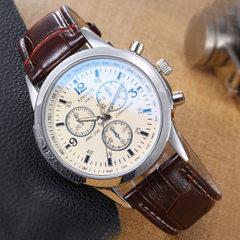 手表厂家批发简约时尚男表新款三眼腕表夜光非机械手表批发 白盘黑带