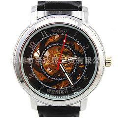 时尚 热销 全自动机械手表 不锈钢表壳 缕空表面 WINNER系列手表 黑带黑面