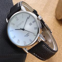 手表厂家批发日历男表 简约新款蓝宝石非机械男款皮带品牌手表 黑带黑面
