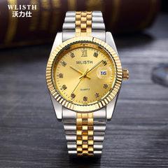 一件代发手表男士钢带手表间金单日历手表批发非机械表情侣表定制 金色白面 男款3#
