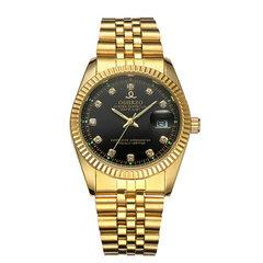 新款高档男士手表商务休闲钢带非机械手表防水单日历夜光石英男表 金壳白面