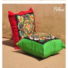 春节送礼 过年礼品中国风 绣花格桑花靠垫抱枕套无内胆86025 绿色 45*45cm