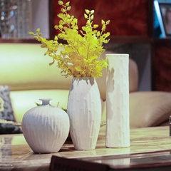 景德镇陶瓷仿真花瓶 现代时尚台面花器白色客厅家居饰品送礼摆件 白色 A款