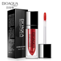 Poquan dazzle color silky soft lip glaze moisturizing lip gloss not easy to fade away from the mouth # 01 peach powder