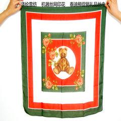 超低价 仿真丝涤纶雪纺50cm小方巾印花丝巾定制 泰迪熊来图来样 绿边 50x50cm