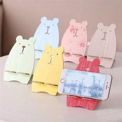 创意款动物形状木质手动组装手机靠架批发小熊多彩懒人H形支架 黄色小熊