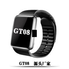 GT08插卡蓝牙智能手表手机电话拍照音乐计步触屏手表学生成人手表 纯黑(中文版)