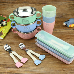 Stainless steel bowl spoon fork children`s tableware cartoon kindergarten portable gift wheat cup bo green