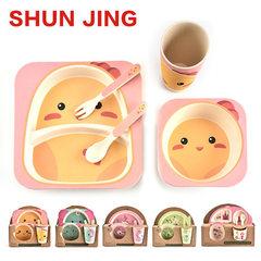 Bamboo fiber children`s tableware 5 pieces set children`s split table spoon fork cup 5 pieces set lo The chicken