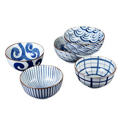 Japan imports ceramic tableware pozzo qinghai wave series household soup bowl noodle bowl bowl rice  82464