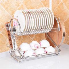 【一件代发】厨房置物架 双层沥水收纳碗架 滴水放碗碟架批发 2字16寸碗碟架水杯款