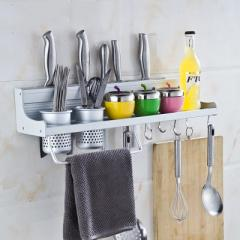 Non-perforated kitchen shelves hanging pieces space aluminum knife rack kitchen utensils and health  50cm double cup