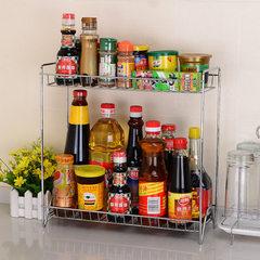 【一件代发】厨房用品收纳置物架 落地储物架双层调味架调味料架 加粗U型底调料架